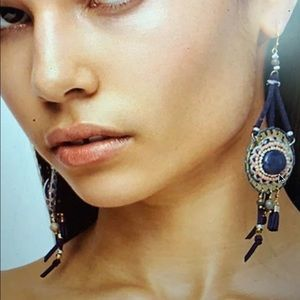 Free People Leather Earrings - Beaded Beaches